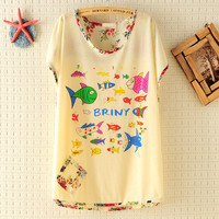 Happy Ocean Park Vintage Flowers Loose T-shirt