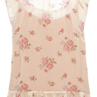 RED Valentino Floral-print silk-chiffon top – 63% at THE OUTNET.COM