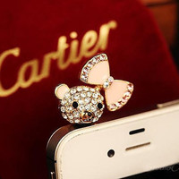 1PC Bling Crystal Cute Bear Girl w/Bow Charms Earphone Jack Anti Dust Plug for iPhone 5 & 4, Samsung S4,S3, Nokia, HTC