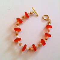 Orange Sea Glass and Mother of Pearl Beaded Bracelet