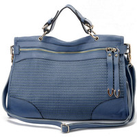 Casual Chic Texture Weave Blue Leather Tote Bag  Satchel  Weekend Bag