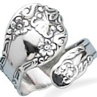 Sterling Silver, Floral Spoon Ring Oxidized- Adjustable Size