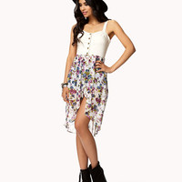 Floral Chiffon Denim Bustier Dress