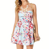 MintRed Strapless Floral Sundress