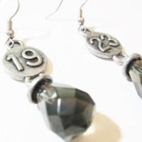 Industrial black crystal drop number earrings