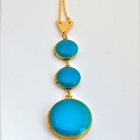 Turquoise Blue Lockets Trio Necklace Statement Piece Layering Jewelry