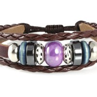 Karma Bead Leather Zen Bracelet