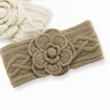 Amazon.com: Mud Pie Cable Knit Flower Ear Warmer - Oatmeal: Clothing