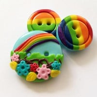 Rainbow - Set Of 3 Polymer Handmade Buttons
