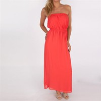 One Clothing Juniors Strapless Chiffon Maxi Dress at Von Maur