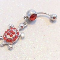Cute bellybutton jewelry ring with brilliant siam red crystals 14ga