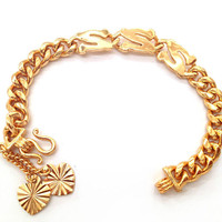 "GIRLS SMALL CURB GOLD TONE ASIAN BRACELET ""S"" DESIGN & HEART DANGLES 5.75""INCH"