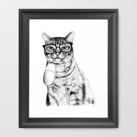 Mac Cat Framed Art Print | Print Shop