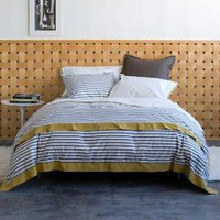 DwellStudio |  Modern Duvet Covers - Chic Bed Linens - Bedding Sets - Draper Stripe Ash Duvet Set