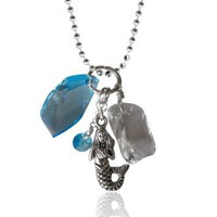 Mermaid with Swarowski Crystals on Silver EP Necklace 18 Inch