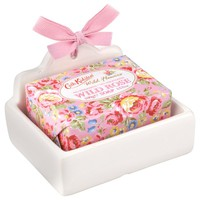 Buy Cath Kidston Wild Rose Soap and Dish Set online at JohnLewis.com - John Lewis