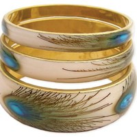 ZAD Beautiful Set of 3 Peacock Feather Print Bangle Bracelet Set Gold Tone