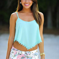 Summer Lovin' Crop Top: Mint Lace | Hope's