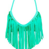 Long Fringe Trim Bikini Top: Charlotte Russe