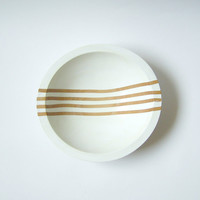 "Gradient Line Hardwood Small 7"" Bowl, White Bean"