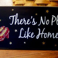 There's No Place Like Home Painted Wood Sign by CountryWorkshop