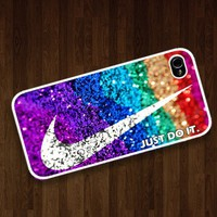 Nike just do it with glitter : Case For Iphone 4/4s ,5 /Samsung S2,3,4