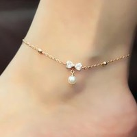 Rose Golden Bowknot Pearl Anklet