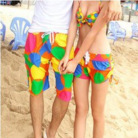 Floral Print Beach Holiday Shorts&Bikini for Couple