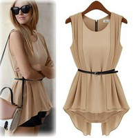 Trendy Sleeveless Chiffon Dress with Belt for Summer