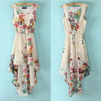 retro irregular Printed flower chiffon dress
