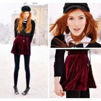Pleated Velvet High Waist Skirt Red