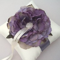 Purple Peony Ring Bearer Pillow | WhiteThistleBridalDesigns - Wedding on ArtFire
