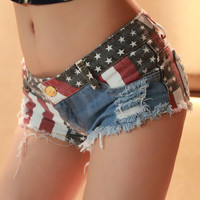 Jeans Shorts with US Flag[glxe 789]