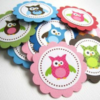 Cute Owl Favor Gift Tags for Birthday and Baby Shower - T025