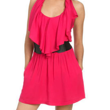 Belted Ruffle Halter Dress - Women's Clothing and Apparel - Chic Dresses, Fashion Tops, Shoes, Bottoms, Denim and Accessories