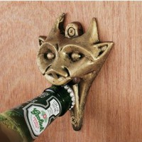 Authentic Gargoyle Bottle Opener in Antique Brass