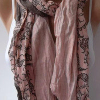 Scarf - Cotton -Elegant Scarf Cotton Scarf - Brown/pink