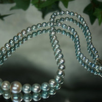 Pearls Vintage Strand of Dyed Light Blue Graduated by ClassicStyle