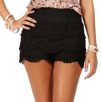 Black Crochet Lace Shorts