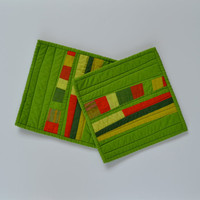 Modern Pot Holders, Green Pot Holders, Quilted Hot Pad, Abstract, Green, Orange
