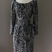 YSL 3 PIECE SET - Skirt Blouse Belt -  Paris France-  Authentic Yves Saint Laurent  - Black White Zebra