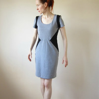SALE Dress in Grey and Black with Short Sleeves Medium Size