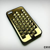 Iphone 4 case golden studded case by CRISION on Etsy