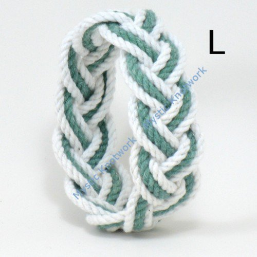 White and Green Sailor Knot Beach Bracelet large | MysticKnotwork - Jewelry on ArtFire