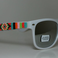 Beaded Sunglasses White Mirror