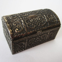 VintageSilver tone Trinket Box with Bas Relief by Latrouvaille