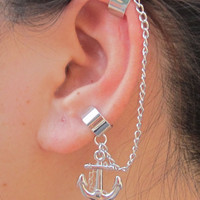Silver sailor anchor Ear Wrap with Chain by necklacependantworld
