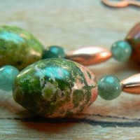 Unaktie, moss agate and copper necklace