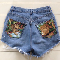SUMMER SALE Vintage Animal print high waisted distressed jean shorts