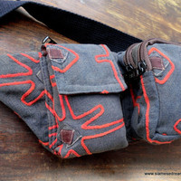 Ethnic Belt Bag Unisex Hip Bag In Vintage Hmong Tribal Red Applique On Grey Man Bag